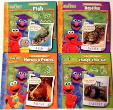 Book Set 4 Sesame Street Educational Horses Reptiles Things That Go