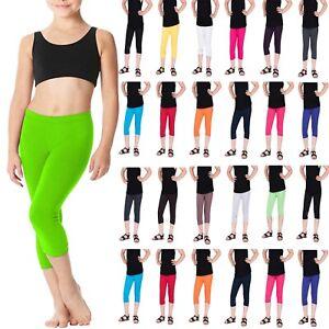 New Children Kids Cropped Cotton Leggings 3/4 Length Girls Capri Pants Age 3-12