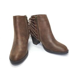 Womens Distressed Brown S M New York Chunky Heel Lace Up Ankle Boots SZ 8 M New