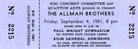 ALLMAN BROTHERS 1981 BROTHERS OF THE ROAD TOUR UNUSED CONCERT TICKET-NM TO MINT