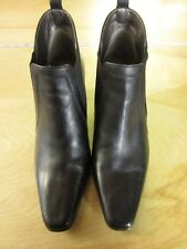 Women's DAVID TATE Black Leather Ankle Boots Booties Slip On Heels Shoes Size 8M