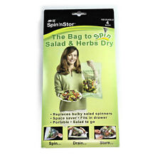 As Seen On Rachael Ray TV SPIN N STOR  4pk Reusable Salad Spinning Bags Spinner
