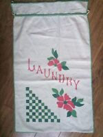 """Charming VTG FABRIC LAUNDRY BAG American Check Floral Green Red 1930's 18"""" x 30"""""""