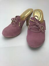 Michael Kors Women S Clogs Pink Suede Leather Wood Heels US SIze 6 M EUR 36.5