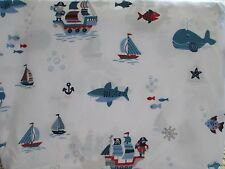 New AUTHENTIC KIDS 3pc PIRATES WHALES FISH BOATS White Blue Red Sheet Set - Twin