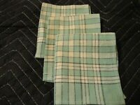 "Antique Linen Vintage Table Napkins Green Checkered Lot (3) 11.5"" x 10""      197"