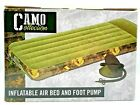 Camo Collection Inflatable Air Bed & Foot Pump Twin Bed Size NEW