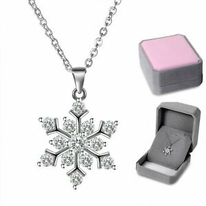 925 Sterling Silver CZ Frozen Snowflake Pendant Necklace Womens Valentine Gift