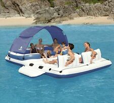 Inflatable Water Floating Row 6-8 People Relax Bed Swimming Bed Chair Blue White