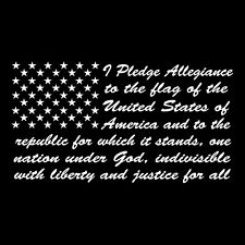 PLEDGE OF ALLEGIANCE TO THE FLAG STAND FOR AMERICA MADE in the USA Window DECAL