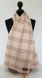 BURBERRY SCARF 100% LAMBSWOOL FOR MEN AND WOMEN MADE IN ENGLAND PINK TU