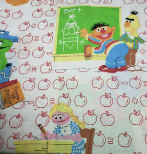 Vintage Muppets Sesame Street Twin Flat Sheet School Big Bird Cookie Monster