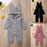 Newborn Infant Boy Girl Romper Hooded Baby Jumpsuit Bodysuit Outfits Clothes New