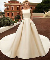 New White/Ivory/Champagne Wedding Dress Bridal Gowns Size 6-8-10-12-14-16-18-20+