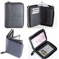 Herrn Damen Geldbörse mit Reißverschluss Geldbeutel Portemonnaie Leder