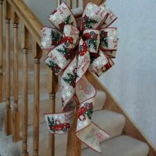 """10"""" WIDE BURLAP TYPE CHRISTMAS BOW~RED TRUCK~DECORATION FOR WREATHS CRAFTS GIFTS"""