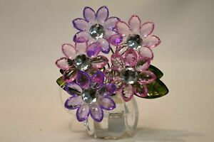 Light-Up Beaded Purple & Pink Flowers In Clear Vase Figurine Battery-Operated