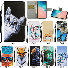 Flip Patterned PU Leather Wallet Card Pocket S lot Stand Strap Case Cover Bumper