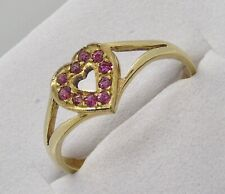Ruby 9ct gold vintage love heart ring. Size M (USA 6). July birthstone.