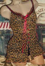 548251996 New ListingUSA M Victoria s Secret Silk Leopard Nightie Red Satin 5 Bali  Lacy Skamp Panty