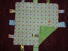 Gray/Green/Blue Bird Flannel/Minky Tag Ribbon Blanket