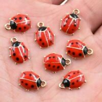 10/40 Pcs Cute Ladybird Enamel Charm Pendant 11*9 MM For DIY Earrings/Bracelet