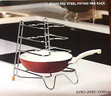 4 TIER METAL SAUCEPAN POT FRYING PAN STORAGE STAND POT COVER RACK HOLDER KITCHEN