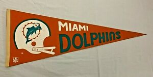 """1970s Vintage Miami Dolphins Full Size NFL Football Pennant30"""" X 12"""""""