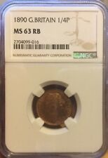 FARTHING 1890 NGC MS 63 RB 1/4P GREAT BRITAIN