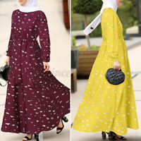 Womens Long Sleeve Floral Printed Floaty Flared Swing Party Prom Gown Maxi Dress