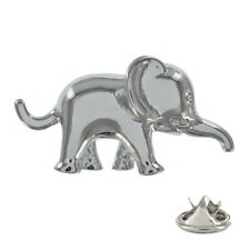 Cute Elephant Silver Plated Metal Pin Badge zoo safari animals elephant AJTP73
