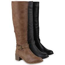 Damen Reiterstiefel Gefütterte Leder-Optik Stiefel 818937 Schuhe