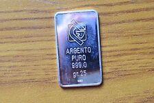 LINGOTTO TSN MONDOVI' PROVINCIALE 1993 1° CLASS PS 25 gr ARGENTO PURO 999 SILVER