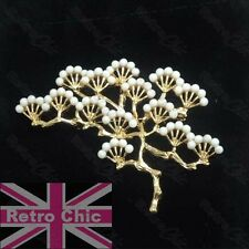ORIENTAL TREE large brooch pin VINTAGE Japanese style GOLD fashion WHITE BLOSSOM