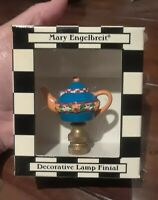 RARE ☆ ADORABLE Mary Engelbreit TEAPOT LAMP FINIAL Blue Yellow Floral