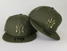 New Era Olive Green New York Yankee Gold Metal Badge Logo 9Fifty Snapback Hat