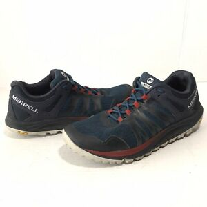 Merrell Nova Mens 10.5 Hiking Trail Shoes J99597 Blue Red Vibram Sneakers