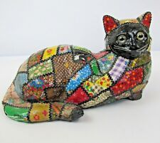 Vintage Cat Figure Rainbow Crazy Quilt Statue Doorstop Heavy Calico 7lbs