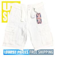 Revolution 1688 Men's NWT 100% Cotton 6-Pocket Cargo Shorts in WHITE SIZE 34