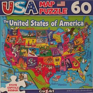 60 Piece Jigsaw Puzzle Map 50 American States USA w State Capitals Age 6+
