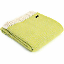 TWEEDMILL KNEE RUG 100% Pure Wool Sofa Throw Blanket LIME GREEN ILLUSION ZEST