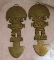 Pair Vintage Brass TUMI Peru Ritual Knife Wall Hangings 10.5""