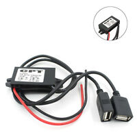 Black Double USB DC DC Converter Module 12V To 5V 3A 15W Output Power Adapter