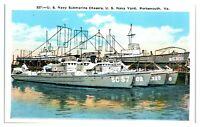 US Navy Submarine Chasers, US Navy Yard, Portsmouth, VA Postcard *227