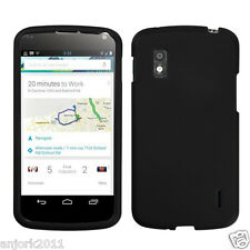 LG Nexus 4 E960 Google Phone Snap-On Case Cover Accessory Solid Rubber Black
