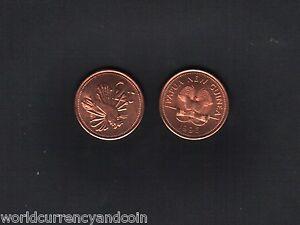 PAPUA NEW GUINEA 2 TOEA KM-2 1996 BIRD ZEBRA FISH UNC PACIFIC ANIMAL MONEY COIN