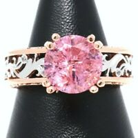 Round Pink Sapphire Solitaire Ring Women Jewelry 14K White Rose Gold Plated