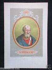 1879 SAN SISTO II XYSTUS II ANTICA STAMPA CROMOLITOGRAFIA PAPA PAPI POPE D246 m