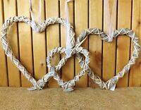 Rustic Grey Woven Wicker Hanging Heart Wreath Home Wedding Easter Christmas