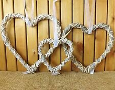Rustic Grey Woven Wicker Hanging Heart Wreath Home Wedding Easter Christmas